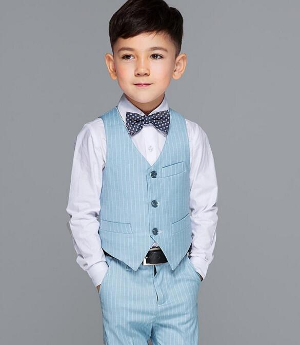 2018 winter boys kids blazers sets with bow tie boy vest suit for weddings prom formal light blue tuxedos birthday party suits 2017 high quality suit lattice style suits boy suit sets slim fit tuxedos boy show jacket pants waistcoat bow tie neckties