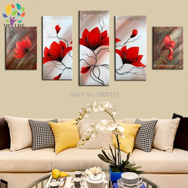 Best Selling Hand Made Items Red Flowers Wall Picture Abstract Paintings  Flower Oil Paintings Wall Decor Home Decor Art