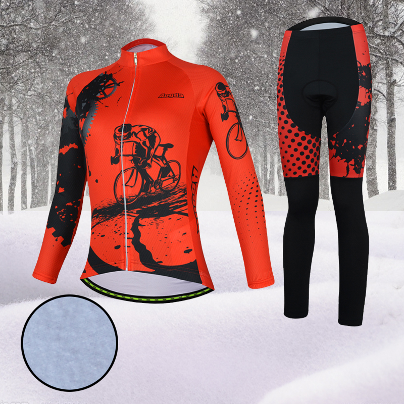 Aogda Women Cycling Clothing Winter Red Bike Wear Thermal Fleece Biking Clothes Long Sleeve Bicycle Jersey