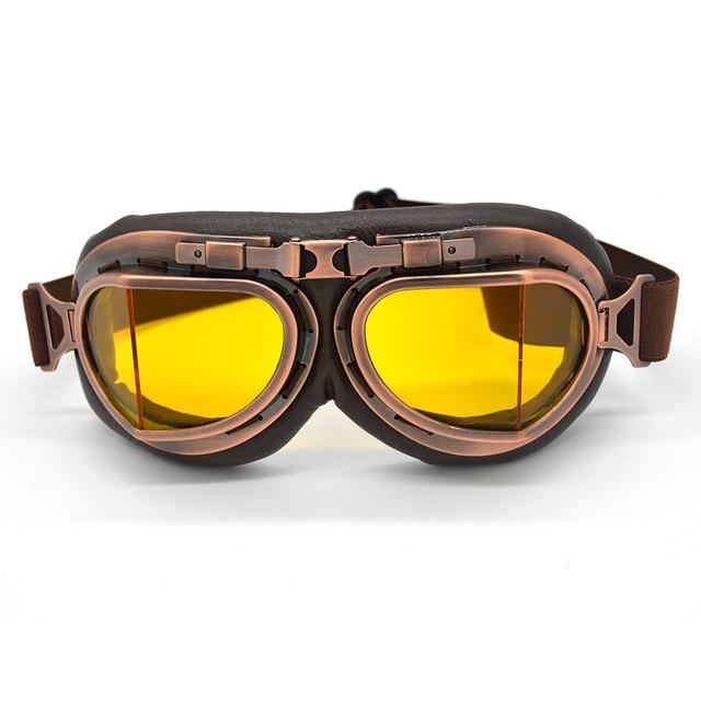 9fe4c16062 Lente amarilla marco de cuero Motocross gafas claro Steampunk deporte gafas  de sol para la motocicleta