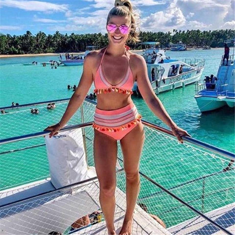 HTB1aSSEQNTpK1RjSZFMq6zG VXaj Sexy High Waist Bikini Women Halter Retro Mesh Hollow Out Swimwear Women Biquini Bathing Suit Female Swimsuit