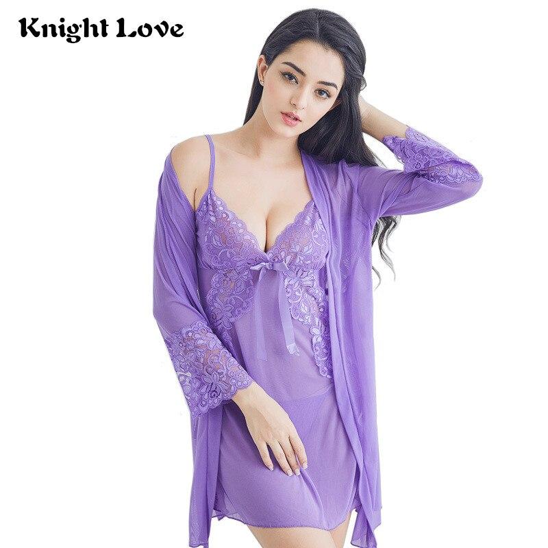 Sexy Women Night Dress V-neck Lace Lingerie Sleepwear Ladies Nightgown Solid Nightwear Female Nightdress Home Sleepshirt Nighty knitting