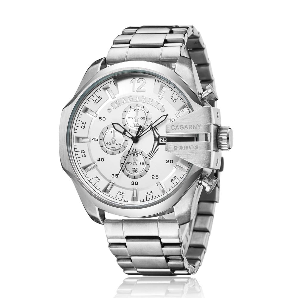 Cagarny Mens Watches Top Luxury Brand Men Silver Steel Male Quartz Watch Men Waterproof Relogio Masculino Military Montre Homme