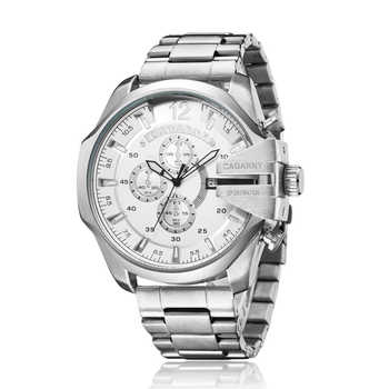 Cagarny Mens Watches Top Luxury Brand Men Silver Steel Male Quartz Watch Men Waterproof Relogio Masculino Military Montre Homme - DISCOUNT ITEM  50% OFF All Category