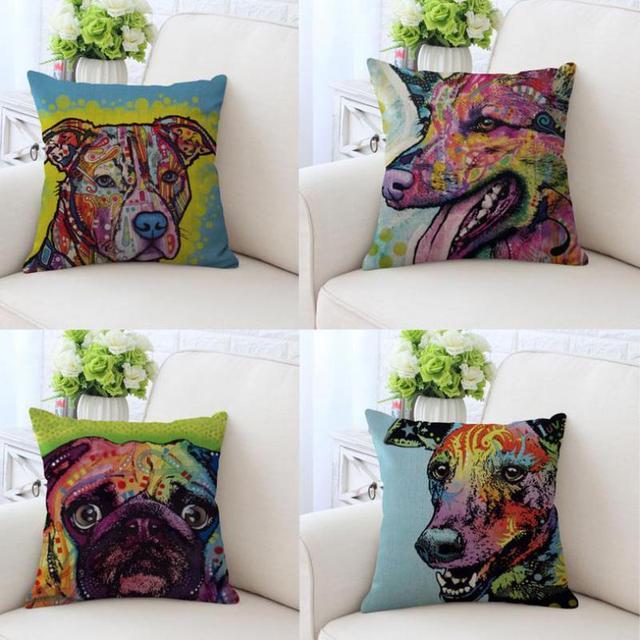 Colorful Cat Dog Cushion Cute Cartoon Animal Head Printed Linen Beauteous Fabric For Decorative Pillows