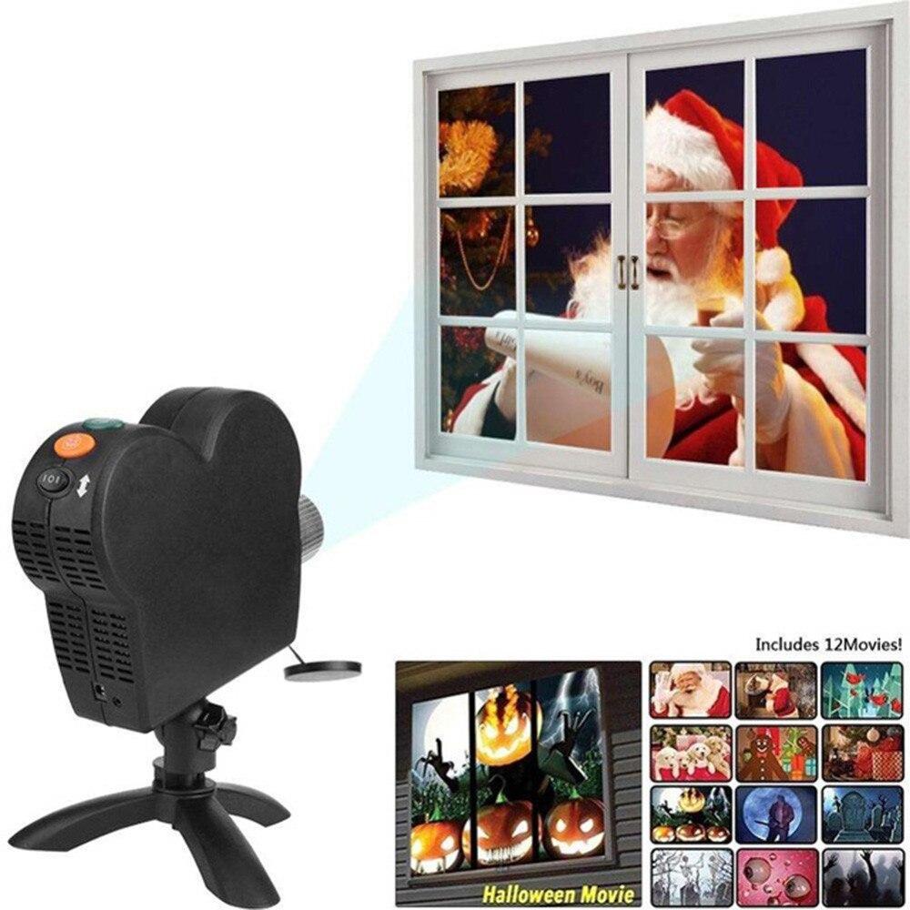 12 Movies Mini Christmas Halloween Window Home Theater Projector Indoor Outdoor Wonderland Projectors For Children Kids Gift