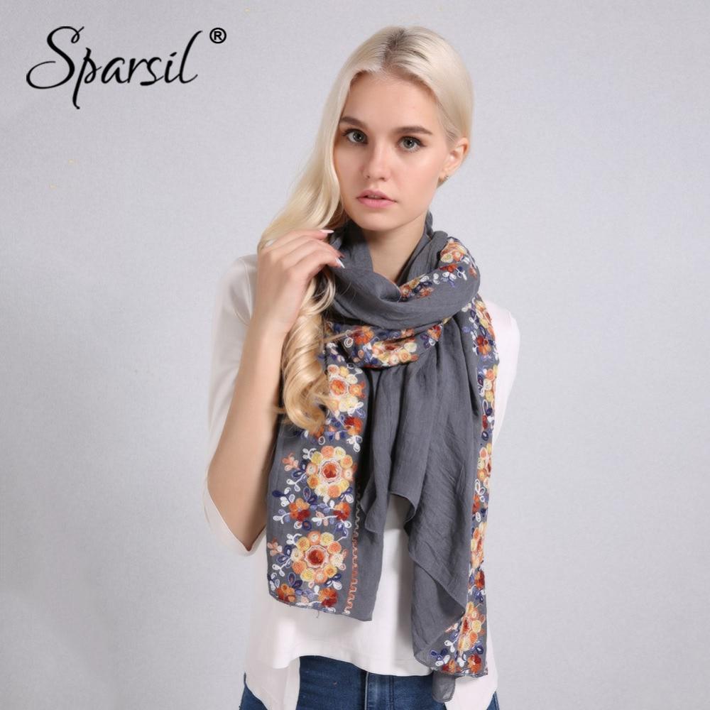 Sparsil Women Spring Elegant Cotton Linen Scarves Double Row Flower Embroidery Soft Big Shawl Sun-Protective Thin Beach Pashmina