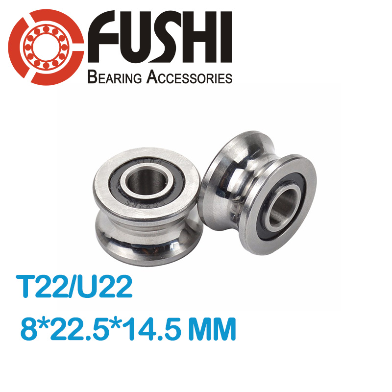 U22 T22 High Quality 8mm V / U Groove Pulley Bearings 8*22.5*14.5*13.5 Mm Guide Track Roller Wheel Ball Bearing U-22 T-22 1 piece bu3328 6 6 33 27 5 29 5 mm z25 guide rail u groove plastic roller embedded dual bearing