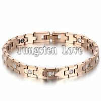7 4 Luxury Rose Gold Tone Tungsten Bracelet Health Balance Bracelet With Energy Magnetic Stone Inlay