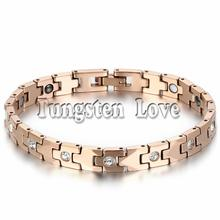 "7.4"" Luxury Rose Gold Tone Tungsten Bracelet Health Balance Bracelet With Energy Magnetic Stone Inlay for Women pulseras mujer(China)"