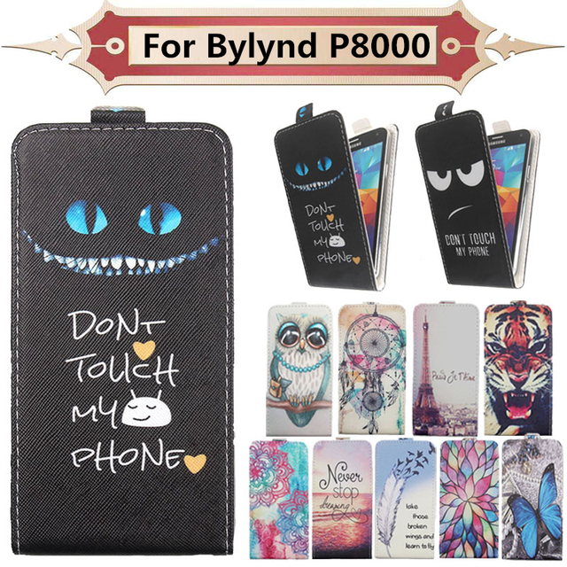 Top Selling 11 Colors Cartoon Pattern Up and Down Flip PU Leather Case For Bylynd P8000