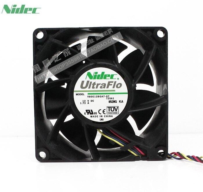 For Nidec V80E12BGA7-07 8038 12V 1.73A Dual Ball High Speed Server Fans
