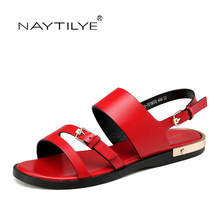 Women's sandals RED color 2017 Summer New model Flats shoes for woman PU leather Size 36-41 Free shipping NAYTILYE