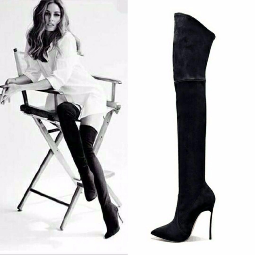 2018 Autumn Winter Women Boots Stretch Faux Suede Slim Thigh High Boots Fashion Sexy Over the Knee Boots High Heels Shoes Woman fashion snake printed thigh high boots med heels slip on over the knee boots autumn winter party banquet prom shoes woman