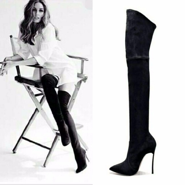 c2b630ce5 2018 Autumn Winter Women Boots Stretch Faux Suede Slim Thigh High Boots  Fashion Sexy Over the Knee Boots High Heels Shoes Woman