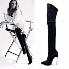 2017 Autumn Winter Women Boots Stretch Faux Suede Slim Thigh High Boots Fashion Sexy Over the Knee Boots High Heels Shoes Woman fedonas top fashion women winter over knee long boots women sper thin high heels autumn comfort stretch height boots shoes woman