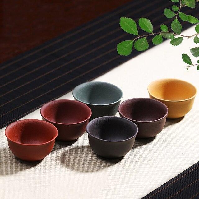 Tasse à thé en argile violette Kung Fu | Service à thé chinois Kung Fu, petite tasse à thé accessoires de cérémonie de thé, livraison aléatoire pour la maison 6 pièces/lot