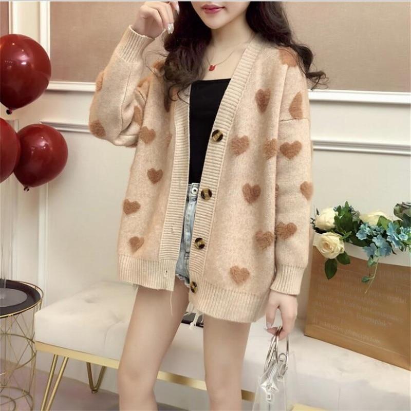 Cashmere Love Sweater Coat Female Autumn And Winter New Korean Short Student Cardigan Jacket Sweater