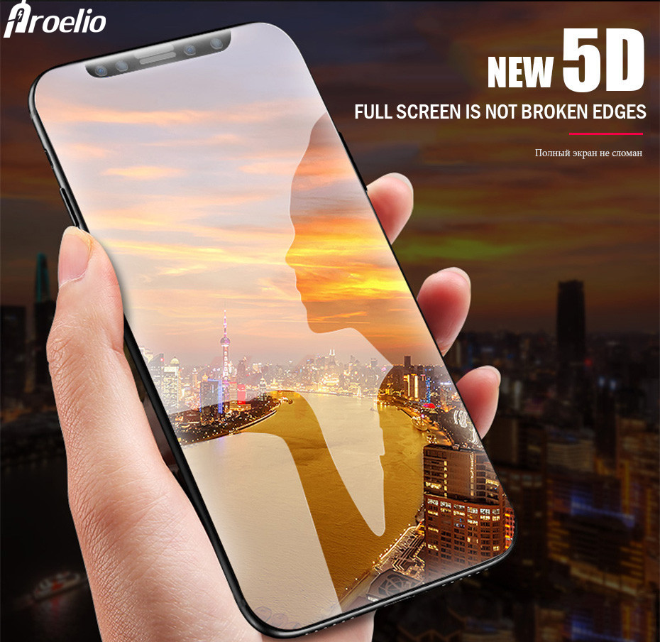 5D Glass For iPhone X 360 Degree Curved Edge Tempered Glass for iPhoneX Screen New 5D Glass For ix Full Cover Protector Film