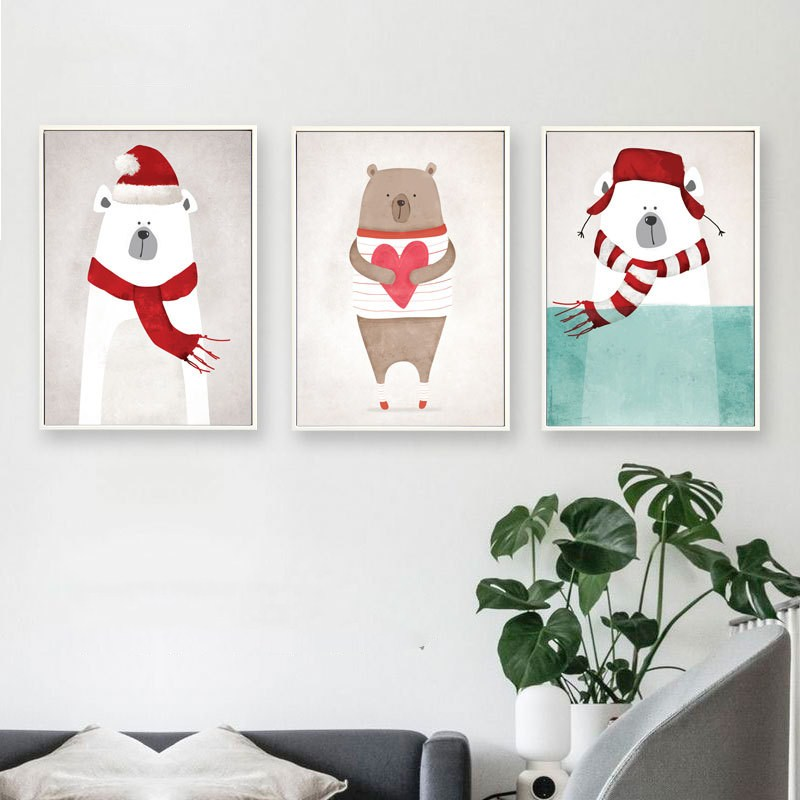 Nordic style decorative painting Simple modern Home living room restaurant Meng animal murals