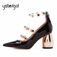 Ystergal 2019 New Black Women Pumps Patent Leather Strange High Heels Mary Jane Rhinestone Wedding Dress Shoes Woman Stiletto