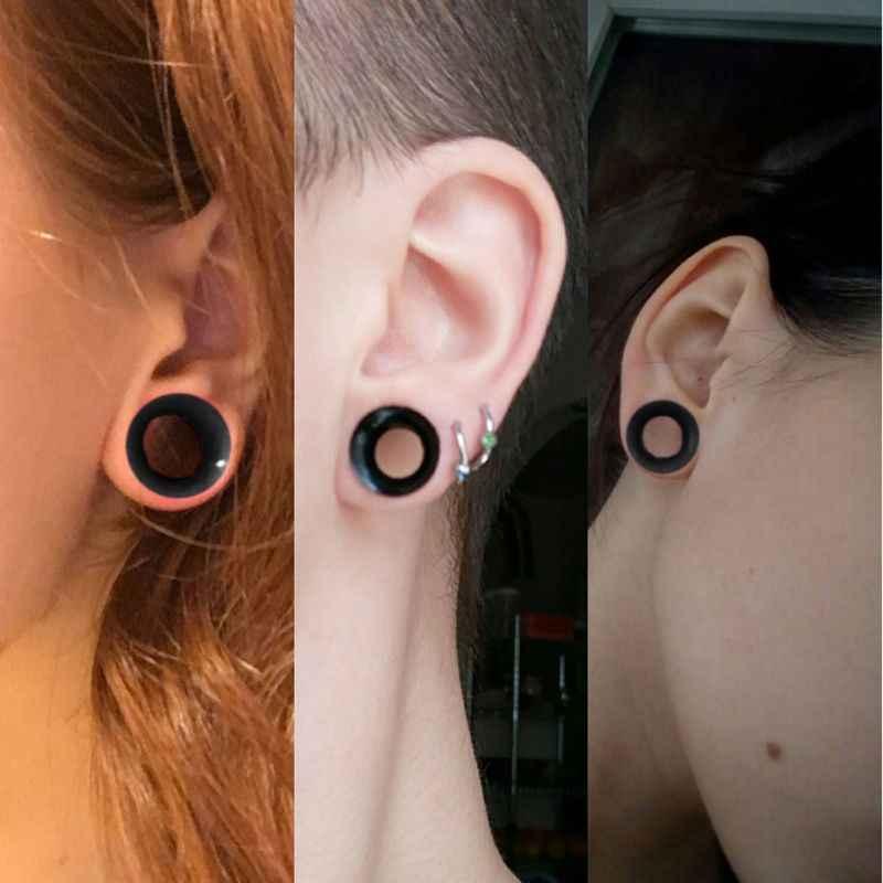 jewelry Tanuki Earrings cute two part stud fake gauge
