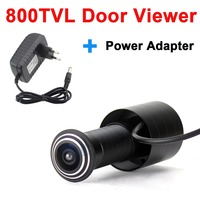 800TVL Color Door Eye Hole Peephole Video Camera wide angle Door Viewer add DV 12V1A Power Adapter