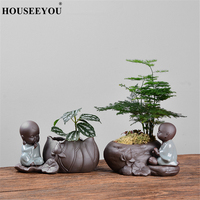 Kreative Wenig Mönch Zen Lila Ton Hydrokultur Sukkulenten Blumentopf Keramik Blume Vase Kleine Ornamente Wohnzimmer Decor