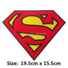 """7,"""" Супермен"""" S """"гигантские большие нашивки для одежды супергерой комикса Униформа анимационный фильм серии костюм вышитая аппликация"""