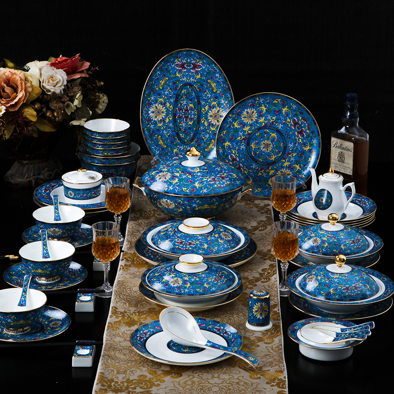 High end Enamel Luxury Tableware Bone China Ceramic Dishes Plate Wedding Gifts Home Classical Dinnerware Combination