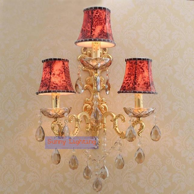 large Gold led candle wall lamps for Hotel hallway kitchen led sconce modern crystal wall sconce with lampshade mirror lights