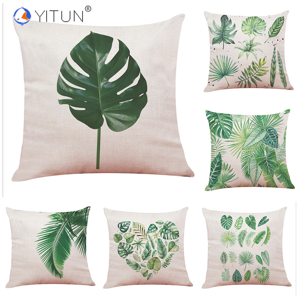YITUN Polyester and Cotton Tropical Plant Leaf Print Cushion Cover Home Decor for Bedroom Safo Car