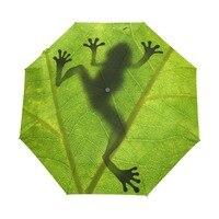 2017 New Creative Frog Child Umbrella Three Folding Green Umbrella Rain Women Sunscreen Anti UV Brand