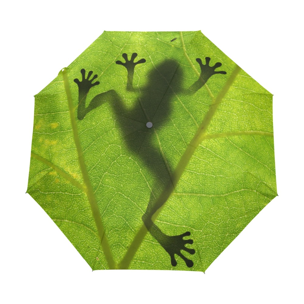 2018 Ny Creative Frog Children Paraply Tre Folding Grøn Paraply Regn Kvinder Solcreme Anti UV Brand Paraplyer