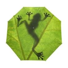 2017 New Creative Frog Child Umbrella Three Folding Green Umbrella Rain Women Sunscreen Anti UV Brand Umbrellas
