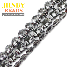 JHNBY Roses Owls leaves Black Hematite beads High quality Natural Stone Loose beads for Jewelry bracelet Making DIY Accessories цена