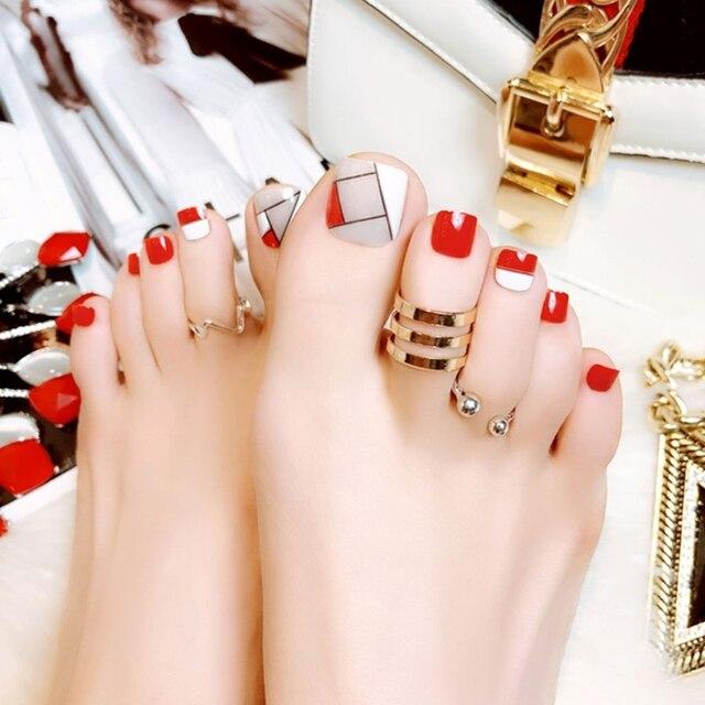 24pcs False Toe Nails French Full Toenails Feet Nail Art Fake