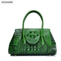 Brand Genuine Leather Women Shoulder Bag Female Crocodile Pattern Hobos Bag Large Women Handbags Vintage Ladies