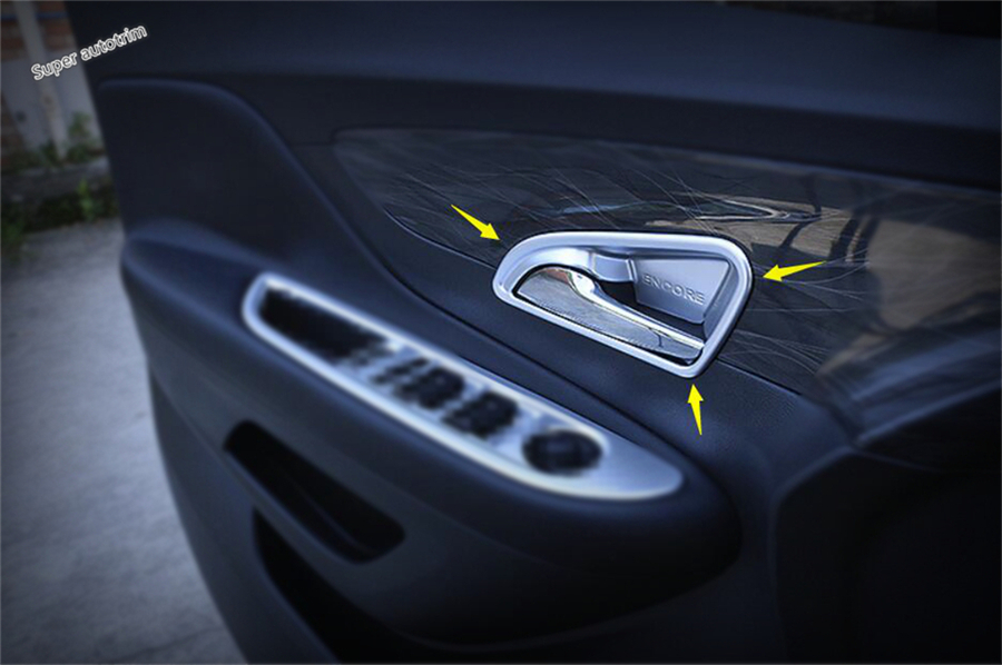 4 Pcs / Set For Vauxhall OPEL Mokka / BUICK ENCORE 2016 2017 2018 ABS Inner Car Door Pull Handle Bowl Molding Cover Trim lsrtw2017 304 stainless steel car window trims for opel mokka buick encore bitter mokka 2013 2014 2015 2016 2017 2018 vauxhall