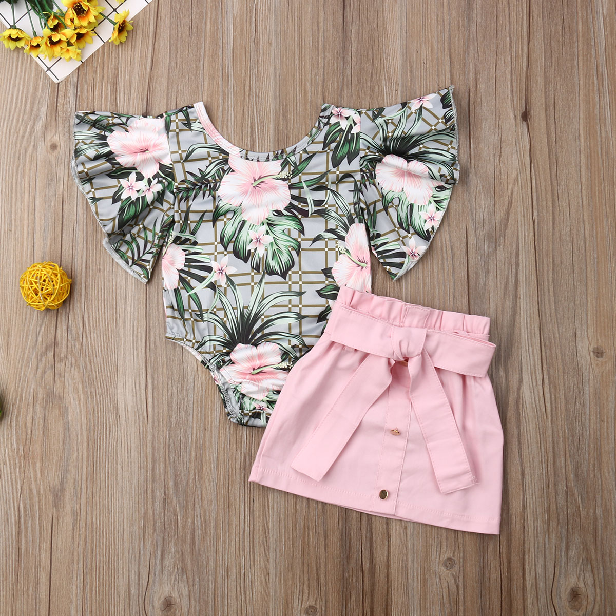 Pudcoco Newest Fashion Toddler Baby Girl Clothes Flower Print Ruffle Sleeve Romper Tops Mini Skirt 2Pcs Outfits Clothes Summer
