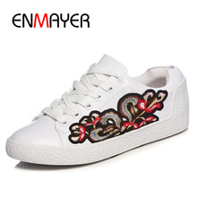 EMAYER Spring Confortable Shoes Woman Dating Shopping Outside Lace Up Flats Shoes Girls Print Sexy Sneakers Platform Shoes(China)
