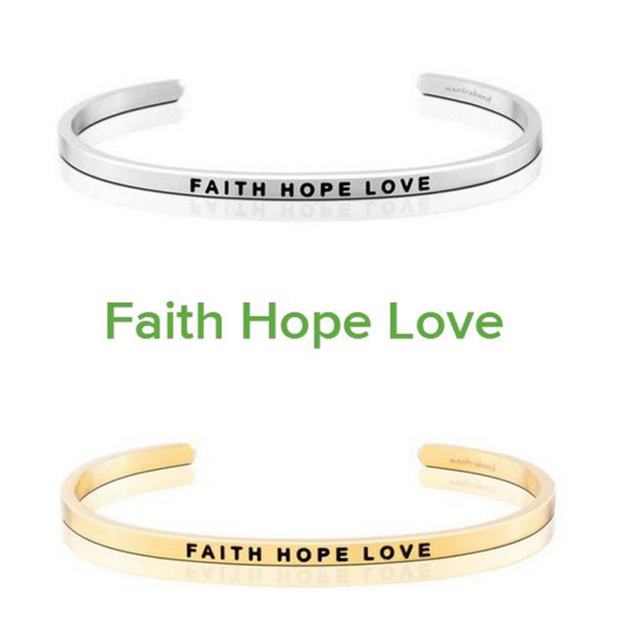 Silver Gold Stainless Steel Engraved Faith Hope Love Inspirational Hand Stamped Cuff Bracelet Bangle For