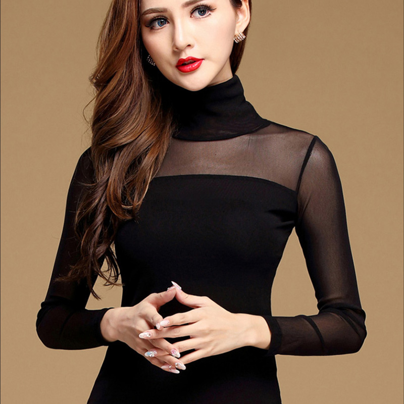 Women Blouse Shirt Black White Sexy Base Layer Shirt Casual Long Sleeve Lace Blouse Under Shirts Mesh Tops For Woman Plus Size