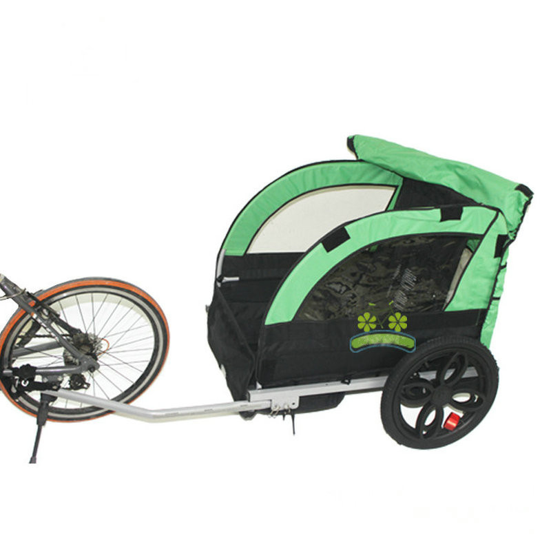 2 Kids/child Bicycle Tow Behind Trailer  Baby Stroller Bike Tricycle Of Double Seat  Aluminum Alloy Frame And Air Wheel|Ride On Cars| |  - title=