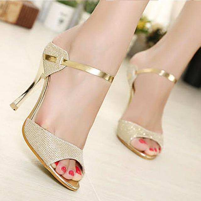 3ee629ec8932 2016 High Heels Sandals Gold Sliver Ankle-Wrap Women Sandals Beautiful  Ladies Sandals Summer Shoes Flip Flops Gladiator Heels H5