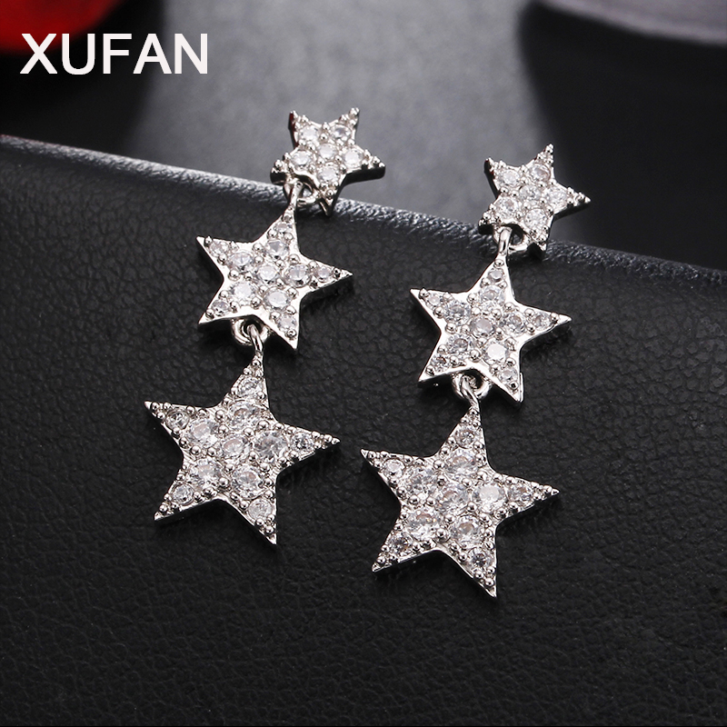 3 Style Korean New Character Pentacle Cubic Zirconia Drop Earrings Super-Flash Size Star Needle Earrings Wedding Party Jewelry