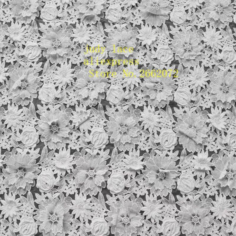 5 yards/sac en soie de lait blanc plein de fleurs de broderie tissu français haut de gamme utilisé pour la robe de mariée scène de mode ZX61 #