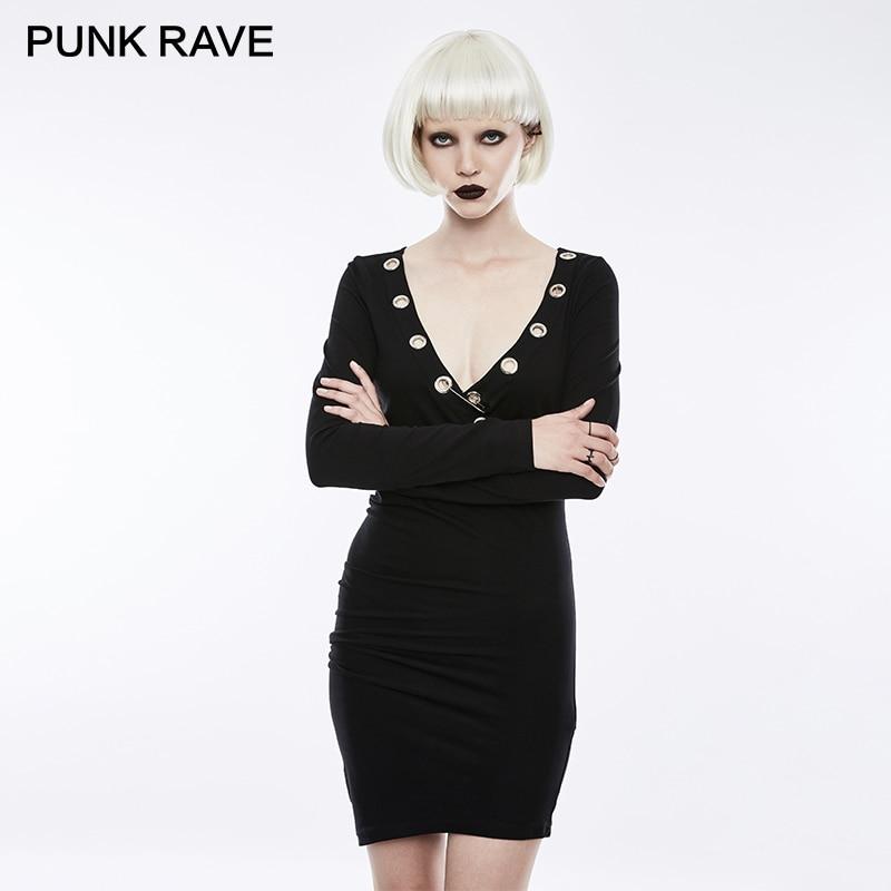 PUNK RAVE Punk Rock Big Eyelet Deep V Collar Black Sexy and Tight Stretch Party Dress