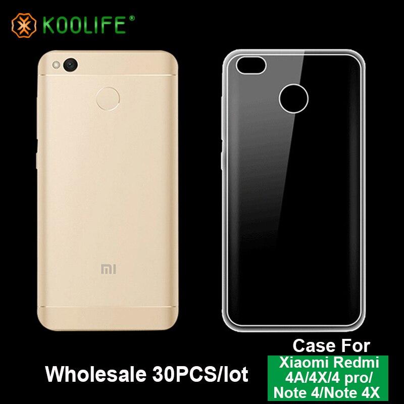 imágenes para Comercio al por mayor 30 Unids/lote soft TPU caso claro Para Xiaomi Redmi 4A/4X/4 pro/Nota 4/Nota caso 4X lot TPU soft phone Cases koolife JY