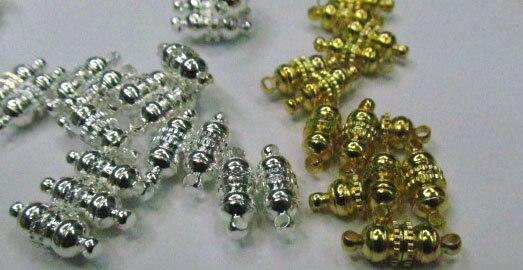 50 pcs 6x12mm métalfermoir connecteurs laiton fermoir, riz, baril, colonne fermoir argent or